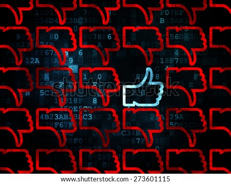 Social media concept: rows of Pixelated red thumb down icons around blue thumb up icon on Digital background, 3d render - stock photo