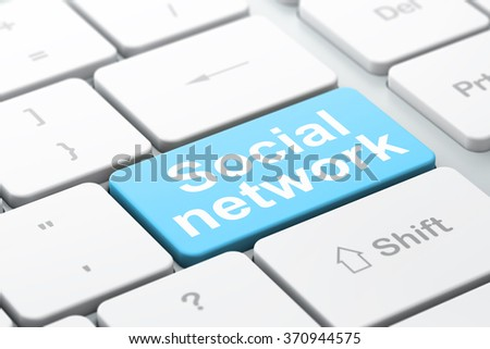 Social media concept: Social Network on computer keyboard background - stock photo