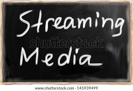 social media concept - text on a blackboard.