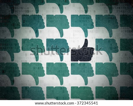 Social media concept: thumb up icon on Digital Paper background - stock photo