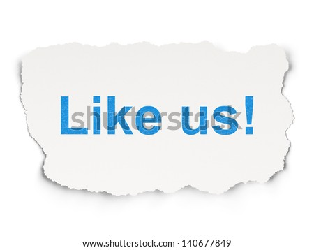 Social media concept: torn paper with words Like us! on Paper background, 3d render - stock photo