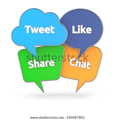 social media concept with colorful speech bubble isolated white background with clipping path - stock photo