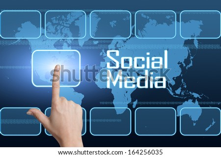 Social Media concept with interface and world map on blue background