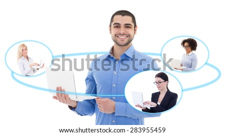 social media concept - young business man and his team isolated on white background - stock photo