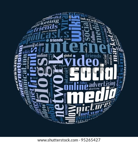 Social Media Concepts in Word Collage - stock photo