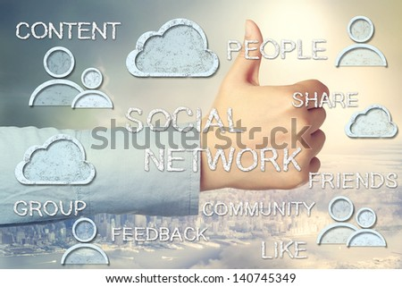 Social Media Concepts with Thumbs Up on Big City and Sky Background - stock photo