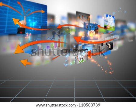 social media, connected - stock photo