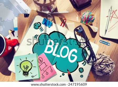Social Media Connecting Blog Communication Content Concept - stock photo