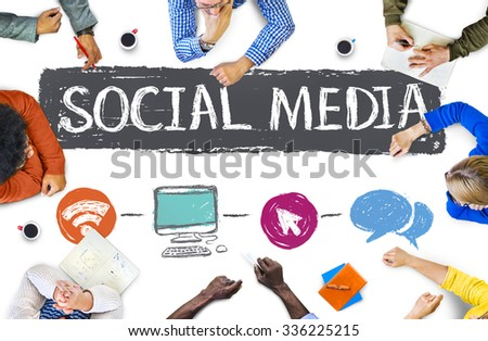 Social Media Connection Communication Technology Network Concept - stock photo