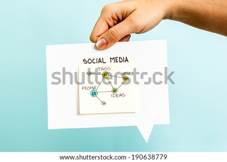 Social media connections on speech bubble - stock photo