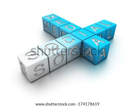 Social media crosswords isolated on white. - stock photo