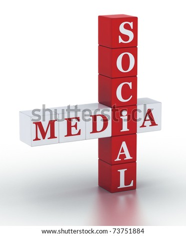 Social Media. cubes crossword series - stock photo