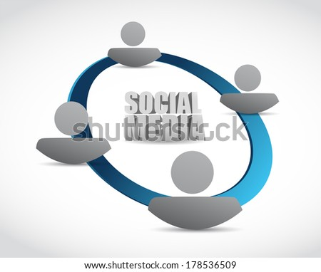 social media cycle illustration design over a white background - stock photo