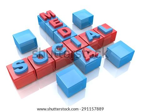 Social media 3D crossword on white background  - stock photo