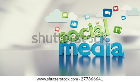 Social media 3D text with icons reflecting on a glossy floor and space on the left.  - stock photo
