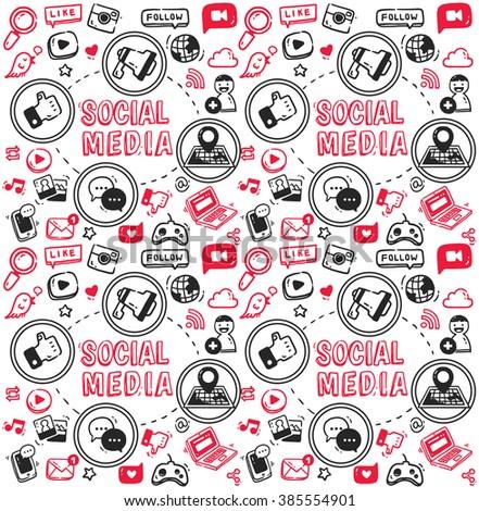 Social media doodle, megaphone, map, chatting bubble, joystick, mobile phone, laptop, cloud etc - stock photo