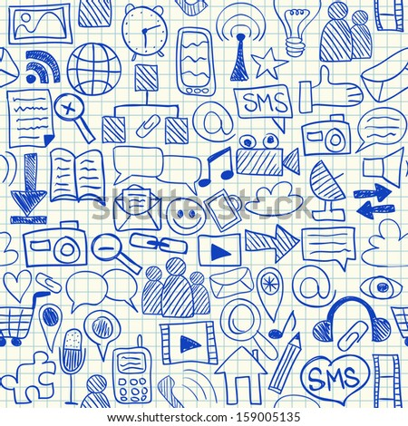Social media doodles on school squared paper, seamless pattern