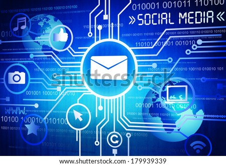 Social Media Email Background - stock photo