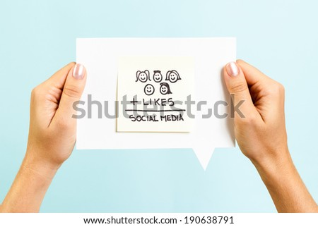 Social media formula on speech bubble - stock photo