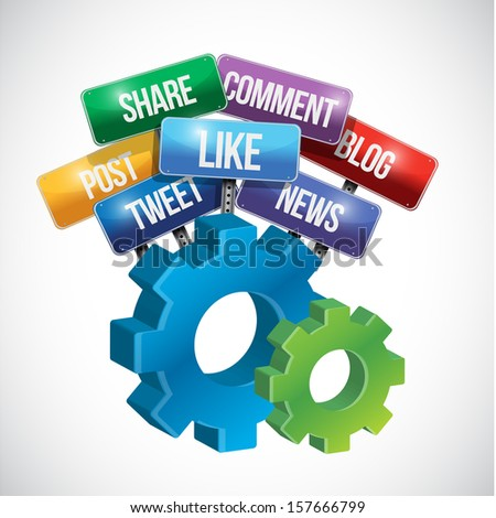 social media gear sign illustration design over white - stock photo