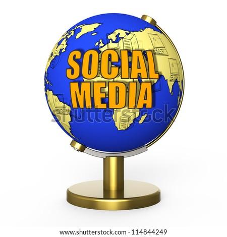 Social media globe - stock photo
