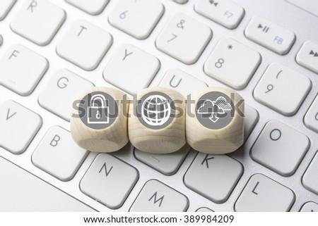 Social media icon on computer keyboard - stock photo