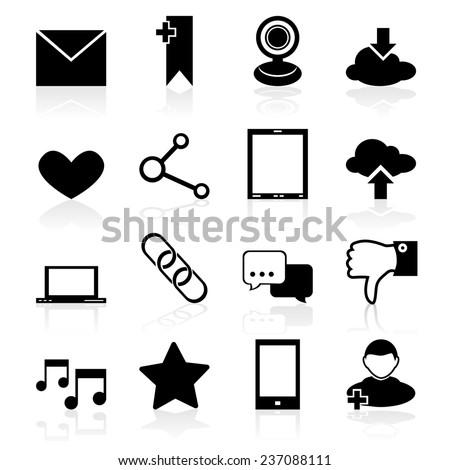 Social media icons black set with internet network elements isolated  illustration - stock photo