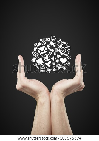 social media icons in hands internet concept
