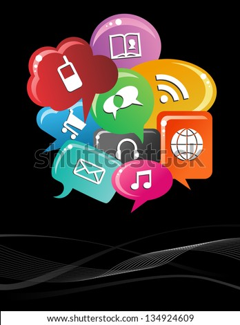 Social media icons set in colorful bubble speech layout. - stock photo