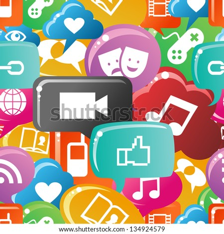 Social media icons set in colorful bubble speech pattern. - stock photo