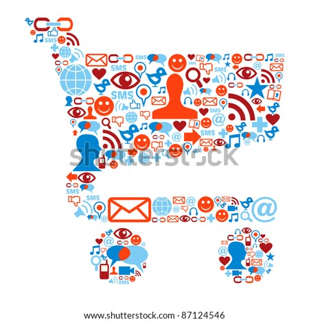Social media icons set in shopping cart shape composition - stock photo