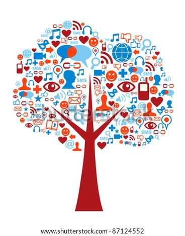 Social media icons set in tree shape composition - stock photo