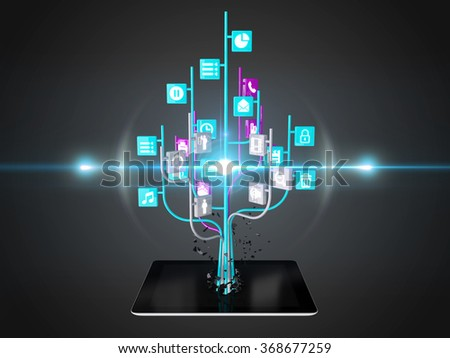 Social media icons set in tree shape on Modern black tablet pc, technology background - stock photo