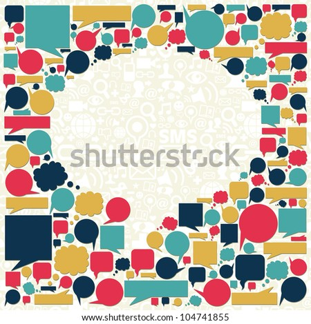 Social media icons texture in talk bubble shape composition background. - stock photo