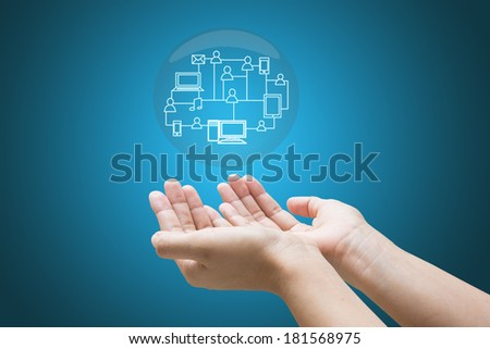 Social media in a hand businessman  - stock photo