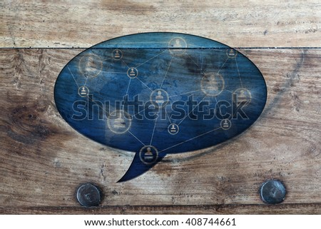 social media in vintage style, communication concept of people - stock photo