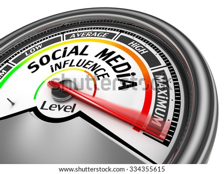 Social media influence level to maximum modern conceptual meter, isolated on white background - stock photo