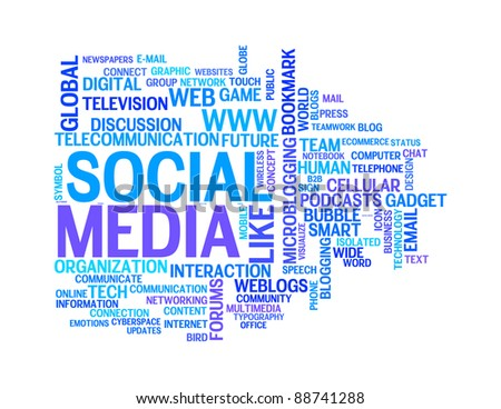 social media info-text graphics and arrangement concept on white background (word clouds) - stock photo