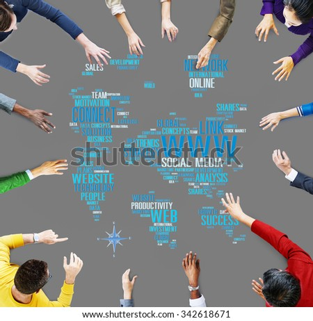 Social Media Internet Connection Global Communications Networking Concept - stock photo