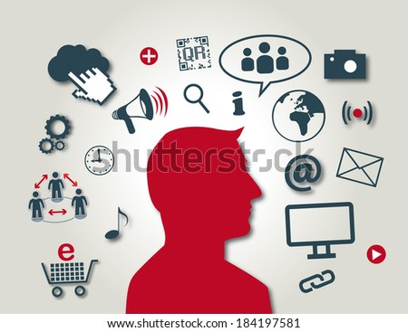 Social media is the interaction among people in which they create, share or exchange information and ideas in virtual communities and networks - stock photo