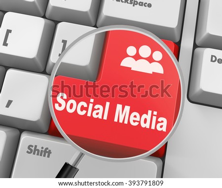 Social media keyboard button - stock photo