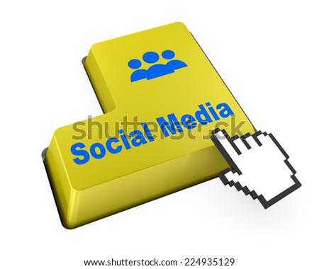 Social media keyboard button facebook twitter like - stock photo