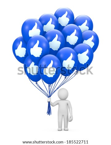 social media like share  balloon symbol - stock photo