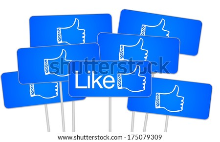Social media like text and thumbs up on a sign illustration for a banner or button - stock photo