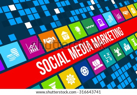 Social media marketing concept image with business icons and copyspace. - stock photo