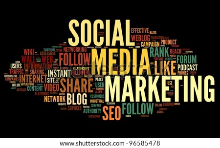 Social media marketing concept in word tag cloud on black background - stock photo