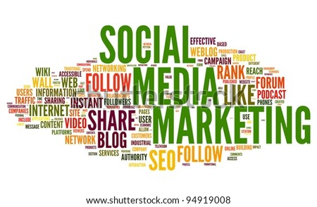 Social media marketing concept in word tag cloud on white background - stock photo