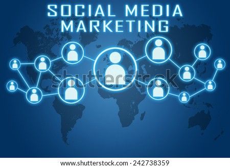 Social Media Marketing concept on blue background with world map and social icons. - stock photo
