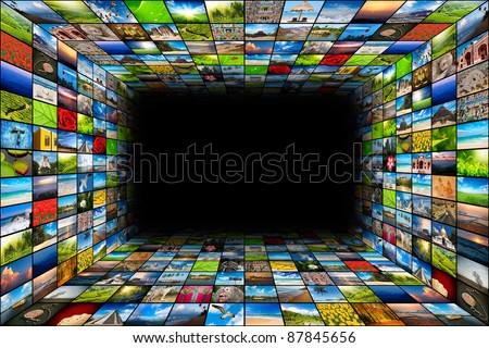 social media - multimedia background of images - stock photo