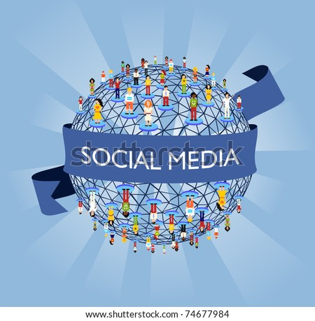 Social media network connection concept - stock photo